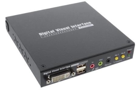 DVI KVM Extender via Lan RJ45, Audio, consol locale & Hub USB, 100m Max.
