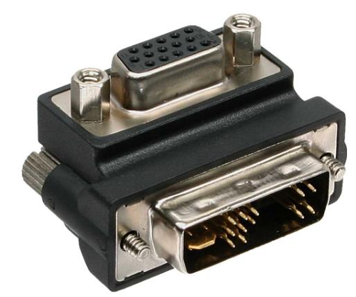 Adattatore DVI-A 12+5 maschio a VGA 15pin HD femmina, analogico, angolato 90°