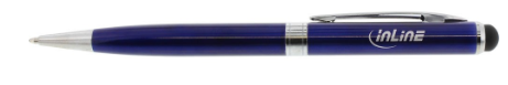 Stylus, penna sfera, pennino touch capacitivo, punta gomma 8mm, metallo, blu