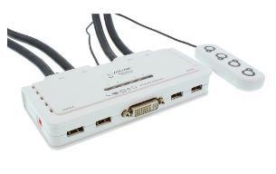 InLine® KVM Switch, 4 porte, USB DVI, Audio, all-in-one