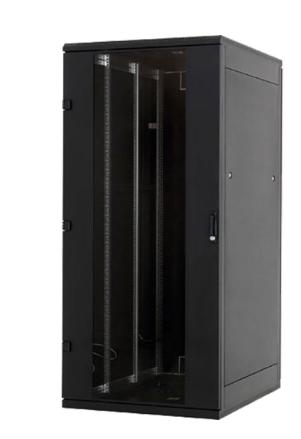 """Rack 19"""" da pavimento, 600x1000, 15U, IP20, porta in vetro, nero (Triton RMA-15-"""