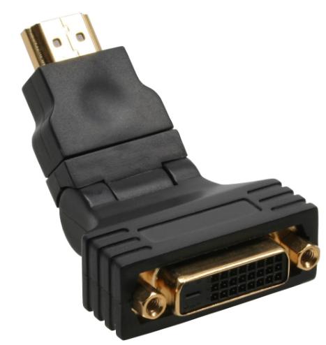 Adattatore HDMI-DVI, Typ A maschio a DVI-D 24+1 femmina, orientabile 180°, dorat