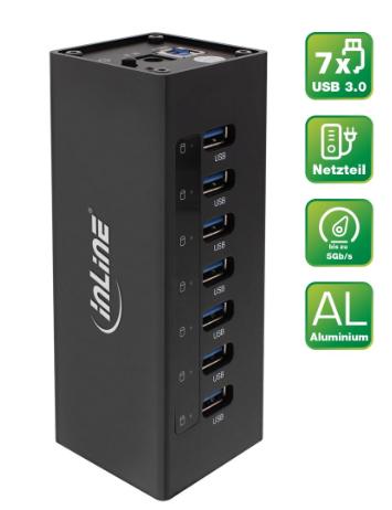 Hub 7x USB 3.0, alimentatore 2,5A, allumino, nero