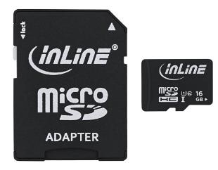 Scheda di memoria MicroSDHC con adattatore SD, classe 10/U1,16GB