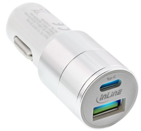 Copia di USB Alimentatore USB per Auto 3.0, 12/24VDC a 5V DC/3A, USB-A + USB-C,