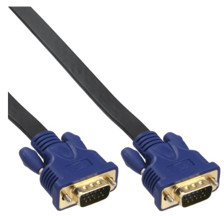 Cavo S-VGA Sub-D 15pin HD maschio / maschio, 10m, Piatto, schermato, dorato, ner
