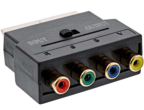 Adattatore TV Scart a 3x RCA ( RGB) + 1x RCA (Video Composite) femmina, dorato