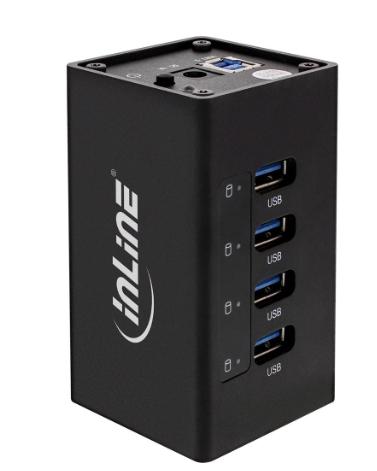 Hub 4x USB 3.0, alimentatore 2,5A, allumino, nero