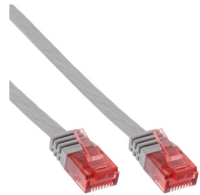 Cavo Rete Lan, U/UTP, Cat.6 Piatto, grigio, 5m, Patch Ethernet PVC, CU (100% ram