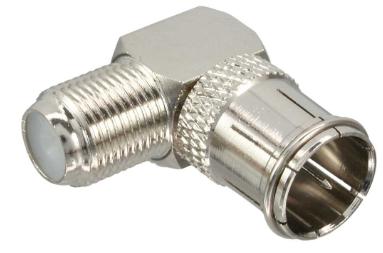 Adattatore SAT da spina F-Quick-Type a presa F-Type, in metallo, angolato a 90°