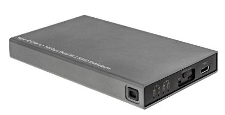 HDD Box Esterno USB 3.1 per dischi Dual M.2 6G SSD con RAID porta USB Type C