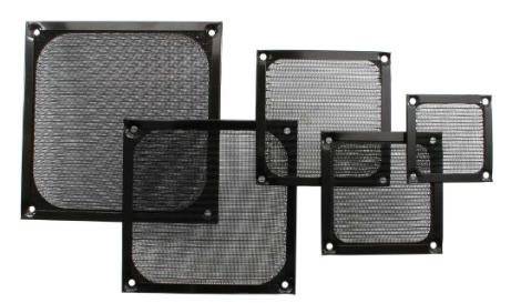 Griglia ventola con filtro in alluminio, 80x80mm, nera