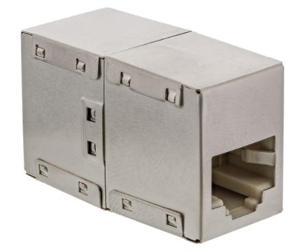Adatatore RJ45 femmina/femmina Cat.5e schermato, in metallo, accoppiatore cavi r