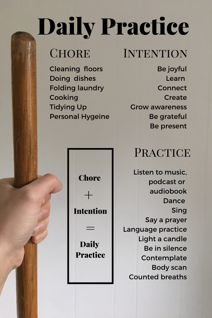 list of chore, intention and practice combination ideas