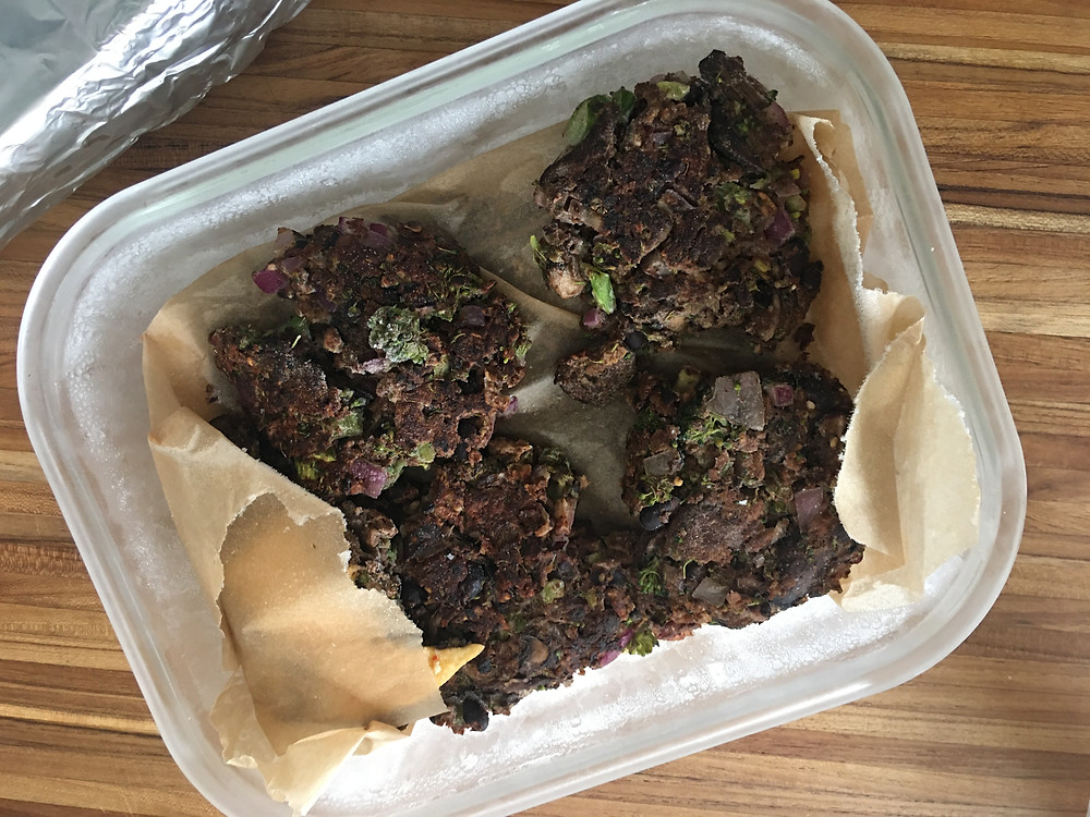 mushroom veggie burgers in a freezer safe container