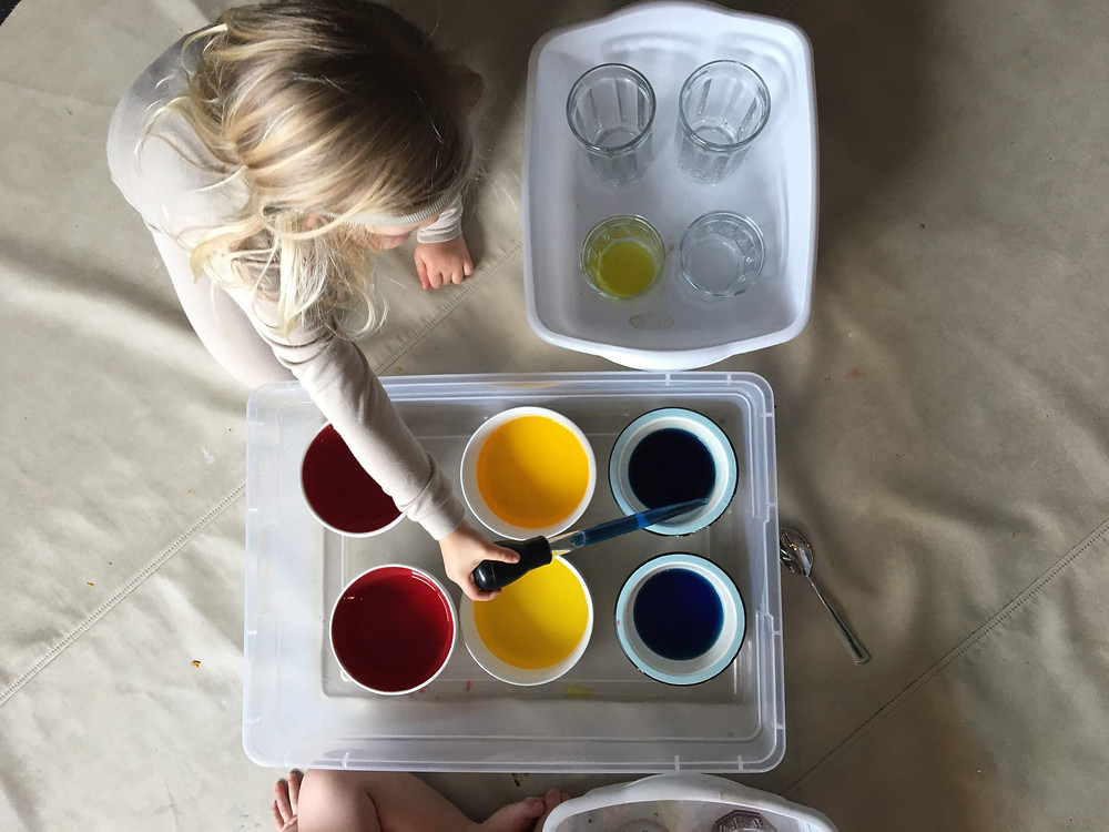 preschooler using turkey baster to mix colored water