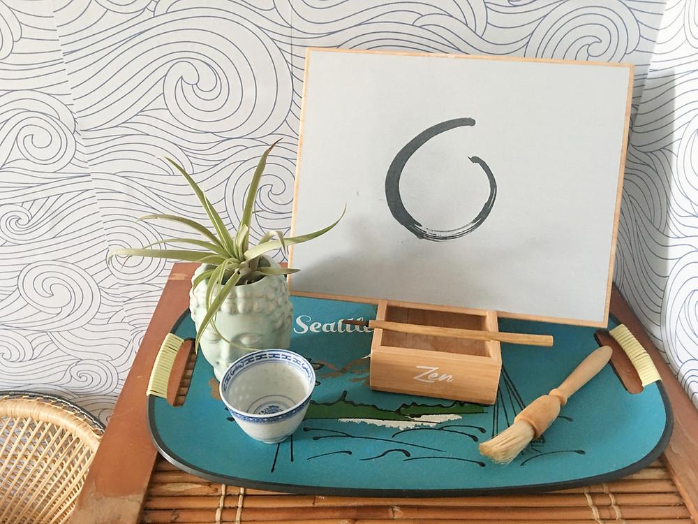 vintage seattle tray with buddha airplant and zen paint board