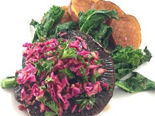 Portobello Mushroom Steak, Red Cabbage and Broccoli Rabe