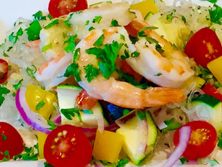 Lemongrass Kelp Noodles with Shrimp and Summer Vegetables