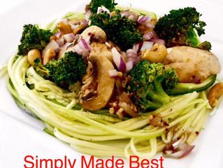 Cashew Chicken Over Zucchini Noodles