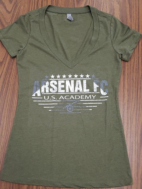 Item# 22 - Ladies Army Green V-Neck