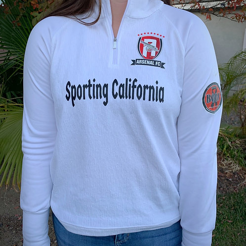 IN STOCK OFFLINE ONLY Sporting CA/Arsenal Women's Wht 3/4 Zipper Pullover ($70)