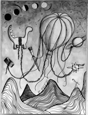 """""""Jellyfish."""" 22 by 30 inches. Graphite and ink on paper."""