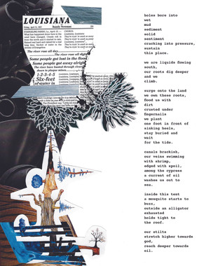 """""""Deeper towards oil."""" 8.5 by 11 inches. Mixed media collage with original poetry."""