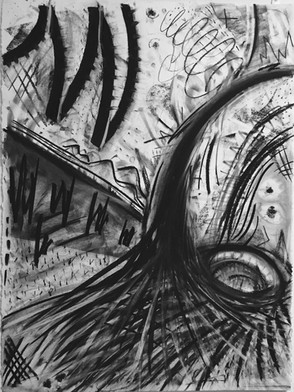 """Untitled."""" 22 by 30 inches. Charcoal on paper."""