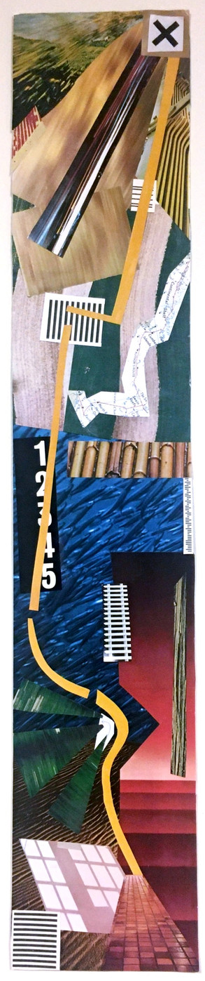 """""""Direction."""" 4.5 by 24 inches. Mixed media collage."""