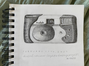 """""""Disposable."""" 5 by 4 inches. Graphite."""