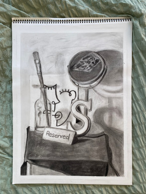 """""""Still Life."""" 18 by 24 inches. Charcoal."""