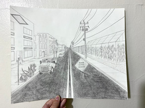 """""""Streetview."""" 11 by 14 inches. Graphite."""