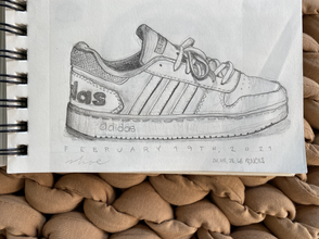 """""""Adidas."""" 5 by 4 inches. Graphite."""