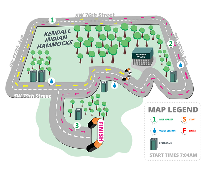 Course of the race at Kendall Indian Hammocks.