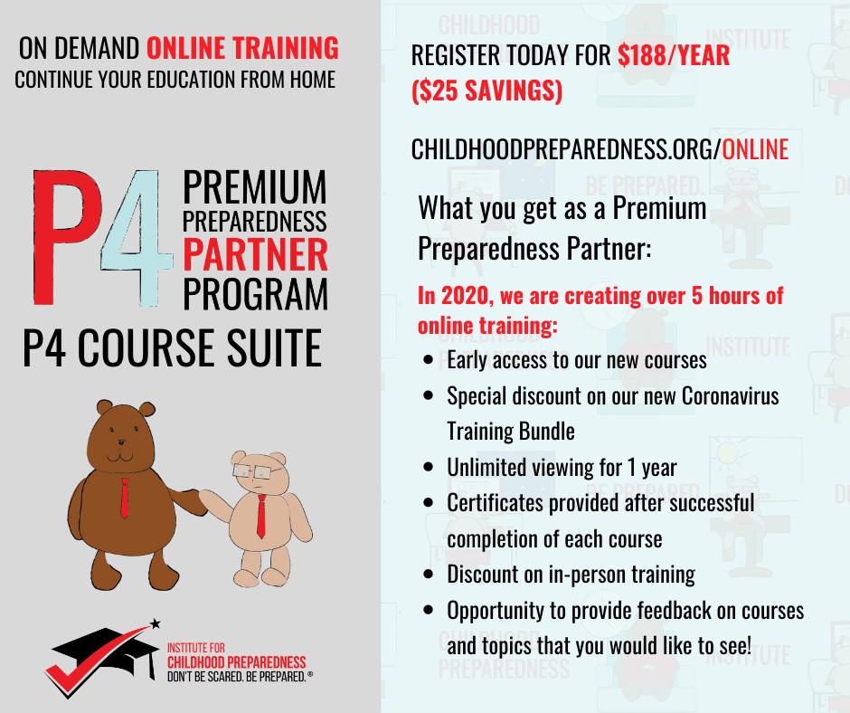 p4, premium, preparedness, partner, program, premium preparedness partner program, child care, child care provider, child care program, childcare, daycare, preschool, prek, teacher, teachers