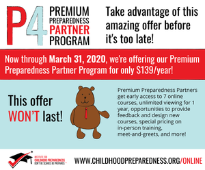 premium preparedness partner program, online courses, early childhood professionals, early childhood education, online training, preschool, prek, daycare, childcare, childcare providers, teachers, school, safety