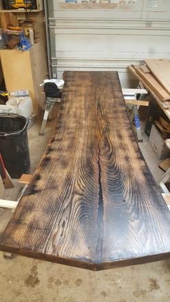 Aged oak finish table slab