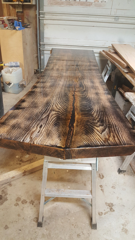 aged oak slab table top