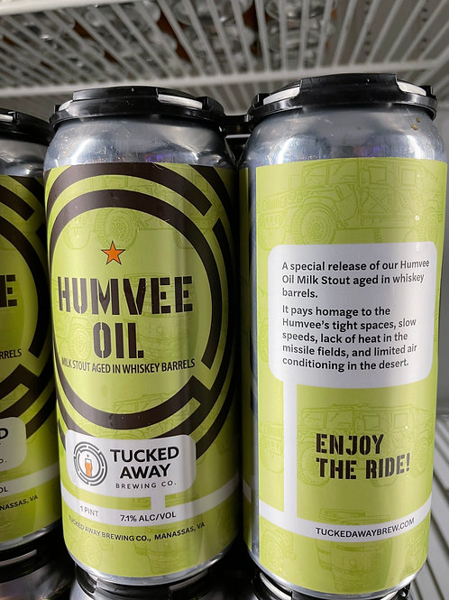 Tucked Away Brewing Co. | Humvee Oil Milk Stout in Whiskey Barrels | 4-Pack