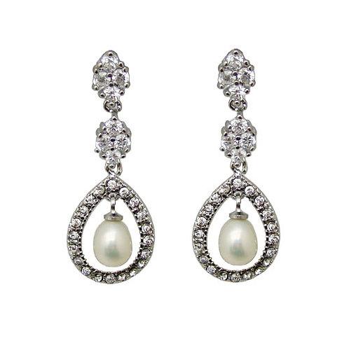 Eleos Crystal and Pearl earrings - Long