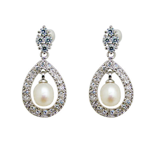 Eleos Crystal and Pearl earrings - Short