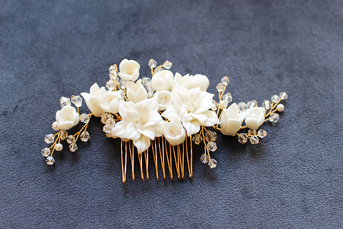 MORRISON: Ivory and Gold Floral Hair Comb