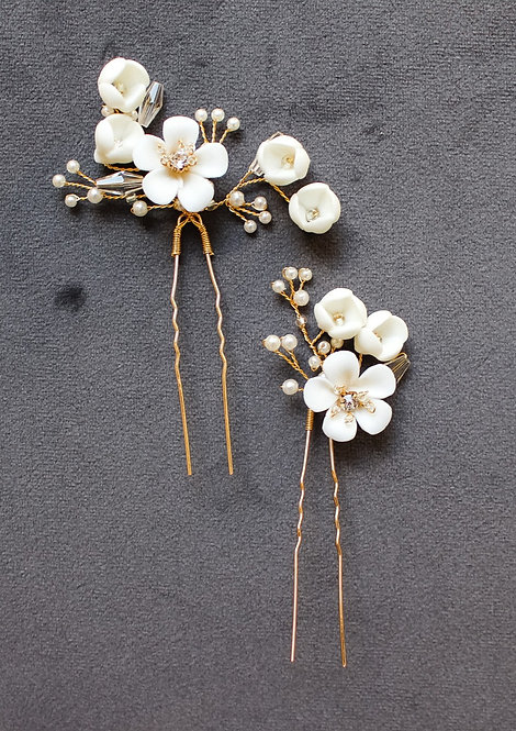 MORRISON: Ivory and Gold Floral Hairpin Set