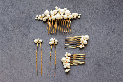 PERLA: Ivory and Gold Pearl Hair Set