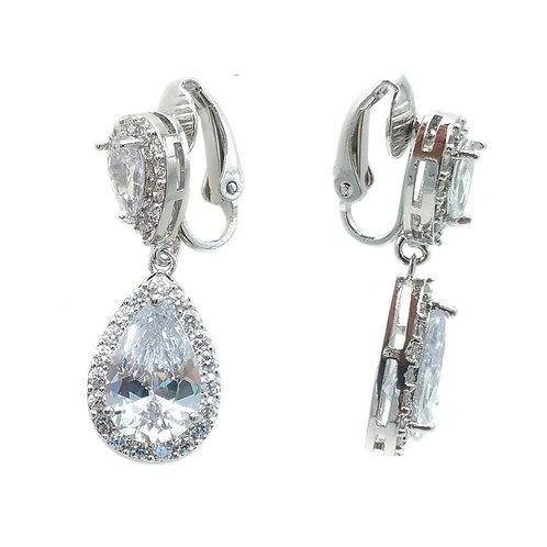 Camellia Clip-On Drop Earrings