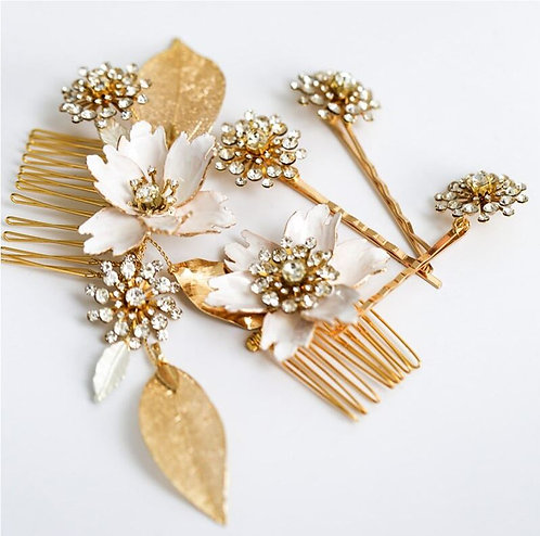 HARPER: Ivory and Gold Hair Comb Set