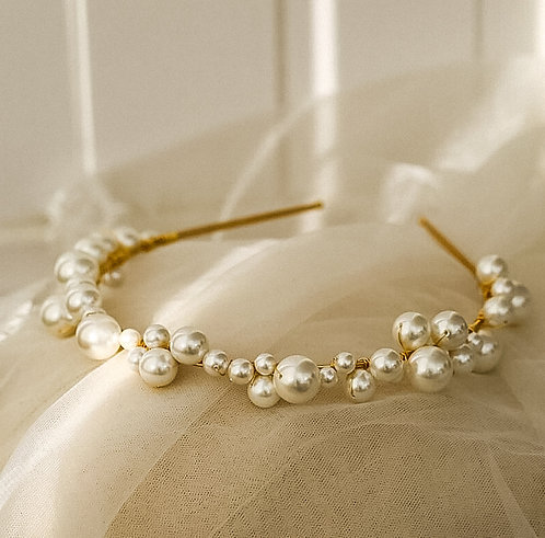 PERLA: Ivory and Gold Pearl Headband