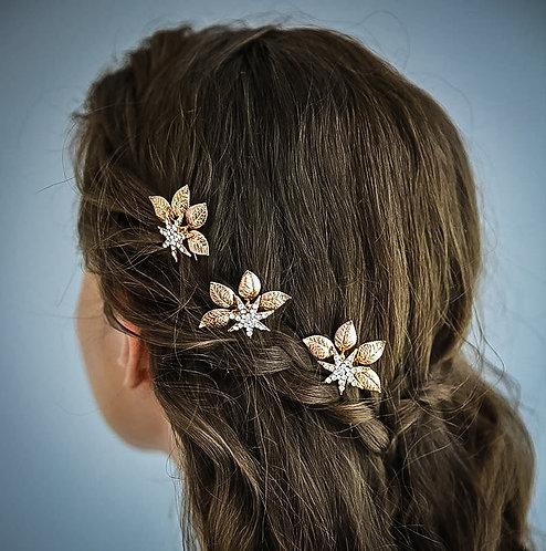 MAIA: Copper Leaves with Crystals Hairpin Set