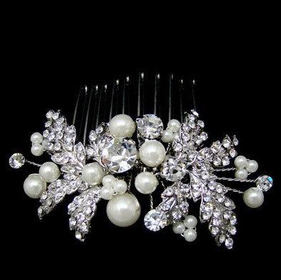 Pearl Crystal Leaves Hair Comb
